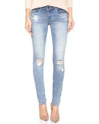 hellblaue enge Jeans mit Destroyed-Effekten von Blank
