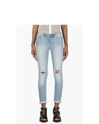 hellblaue enge Jeans mit Destroyed-Effekten von BLK DNM