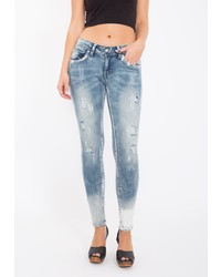 hellblaue enge Jeans mit Destroyed-Effekten von BLUE MONKEY