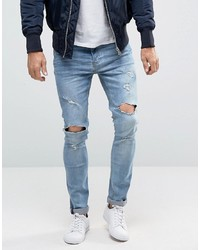 hellblaue enge Jeans mit Destroyed-Effekten von Brave Soul