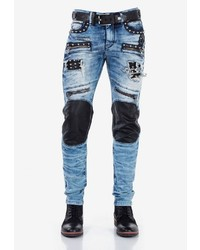 hellblaue enge Jeans mit Destroyed-Effekten von Cipo & Baxx