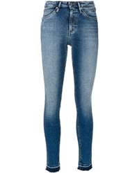 hellblaue enge Jeans mit Destroyed-Effekten von CK Calvin Klein