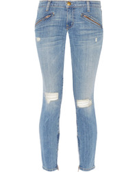 hellblaue enge Jeans mit Destroyed-Effekten von Current/Elliott
