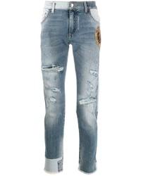 hellblaue enge Jeans mit Destroyed-Effekten von Dolce & Gabbana