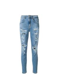hellblaue enge Jeans mit Destroyed-Effekten von Dondup