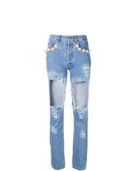 hellblaue enge Jeans mit Destroyed-Effekten von Forte Dei Marmi Couture