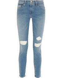 hellblaue enge Jeans mit Destroyed-Effekten von Frame