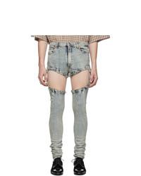 hellblaue enge Jeans mit Destroyed-Effekten von Gucci