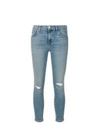 hellblaue enge Jeans mit Destroyed-Effekten von J Brand