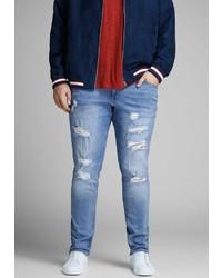 hellblaue enge Jeans mit Destroyed-Effekten von Jack & Jones