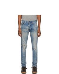 hellblaue enge Jeans mit Destroyed-Effekten von John Elliott
