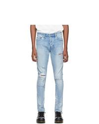 hellblaue enge Jeans mit Destroyed-Effekten von Ksubi