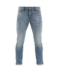 hellblaue enge Jeans mit Destroyed-Effekten von Miracle of Denim