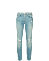 hellblaue enge Jeans mit Destroyed-Effekten von Mother