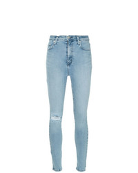 hellblaue enge Jeans mit Destroyed-Effekten von Nobody Denim