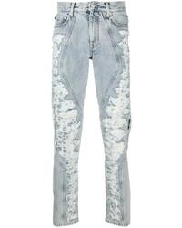 hellblaue enge Jeans mit Destroyed-Effekten von Off-White