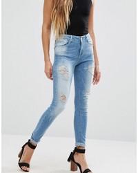 hellblaue enge Jeans mit Destroyed-Effekten von Only