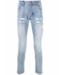 hellblaue enge Jeans mit Destroyed-Effekten von Philipp Plein