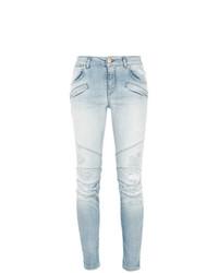 hellblaue enge Jeans mit Destroyed-Effekten von PIERRE BALMAIN