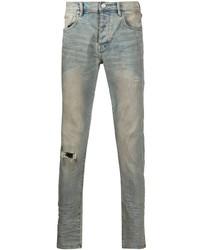 hellblaue enge Jeans mit Destroyed-Effekten von purple brand