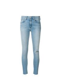 hellblaue enge Jeans mit Destroyed-Effekten von Rag & Bone