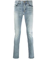 hellblaue enge Jeans mit Destroyed-Effekten von Saint Laurent
