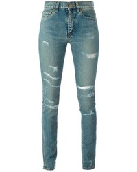 Hellblaue Enge Jeans mit Destroyed-Effekten von Saint Laurent