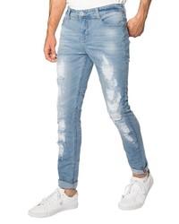 hellblaue enge Jeans mit Destroyed-Effekten von Sublevel