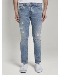 hellblaue enge Jeans mit Destroyed-Effekten von Tom Tailor