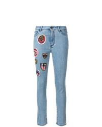hellblaue enge Jeans mit Flicken von Mr & Mrs Italy