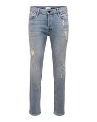 hellblaue enge Jeans von ONLY & SONS