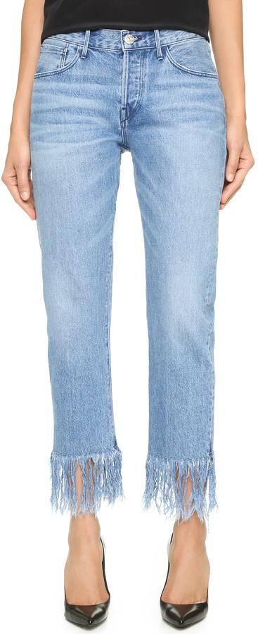 hellblaue Jeans mit Fransen von 3x1, €267 |