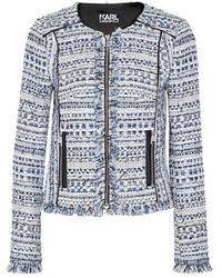 hellblaue Tweed-Jacke mit Fransen von Karl Lagerfeld