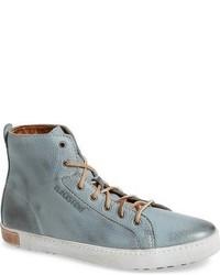 hellblaue hohe Sneakers aus Leder