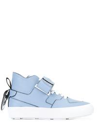 hellblaue hohe Sneakers aus Leder von MSGM