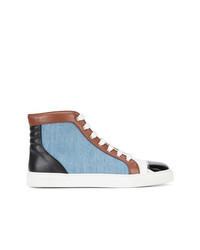 hellblaue hohe Sneakers aus Segeltuch