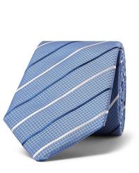 hellblaue horizontal gestreifte Krawatte von Hugo Boss