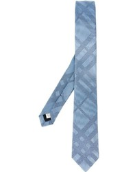 hellblaue horizontal gestreifte Seidekrawatte von Burberry