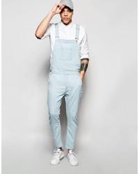 hellblaue Jeans Latzhose