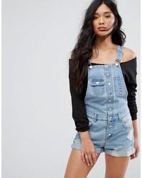 hellblaue Jeans Latzhose von Boohoo
