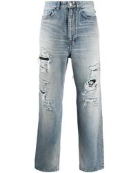 hellblaue Jeans mit Destroyed-Effekten von Balenciaga