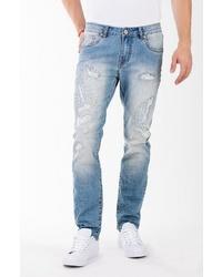 hellblaue Jeans mit Destroyed-Effekten von BLUE MONKEY