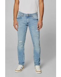 hellblaue Jeans mit Destroyed-Effekten von edc by Esprit