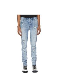 hellblaue Jeans mit Destroyed-Effekten von Ksubi