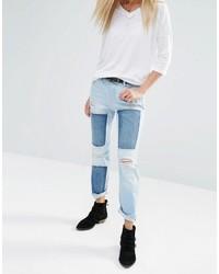 hellblaue Jeans mit Destroyed-Effekten von Noisy May
