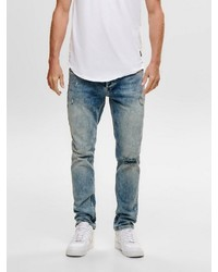 hellblaue Jeans mit Destroyed-Effekten von ONLY & SONS
