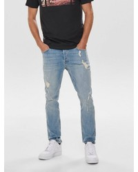 hellblaue Jeans mit Destroyed-Effekten von ONLY & SONS