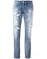 Hellblaue Jeans mit Destroyed-Effekten von Philipp Plein