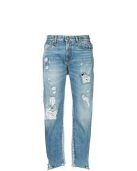 hellblaue Jeans mit Destroyed-Effekten von R13