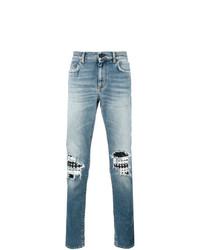 hellblaue Jeans mit Destroyed-Effekten von Saint Laurent